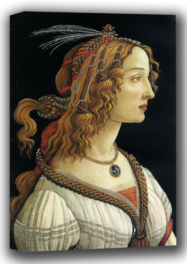Botticelli, Sandro: Portrait of a Young Woman. Fine Art Canvas. Sizes: A4/A3/A2/A1 (001883)